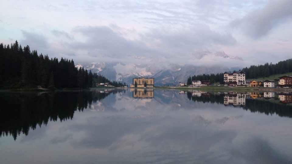Lago Misurina on the Lavaredo Ultra Trail course.